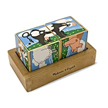 Melissa & Doug Farm Sound Blocks 6-in-1 Puzzle With Wooden Tray