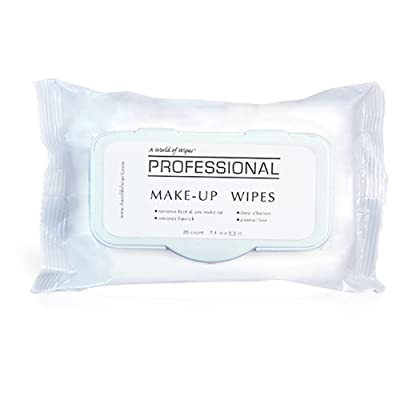 A World Of Wipes Professional Make-Up Remover Wipes, 25-Count Container (1 Pack)