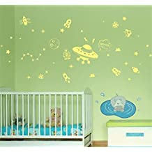 ufengke Cartoon Space Ship DIY Wall Decals Fluorescence Stickers Glow In The Dark, Children's Room Nursery Removable Wall Stickers Murals