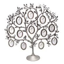 QTMY Metal Family Tree with 12 Hanging Picture Frames Collage Desk Ornaments