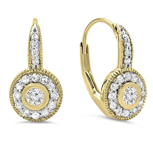 0.40 Carat (ctw) 14K Yellow Gold Round Cut Diamond Ladies Cluster Halo Style Drop Earrings by DazzlingRock Collection