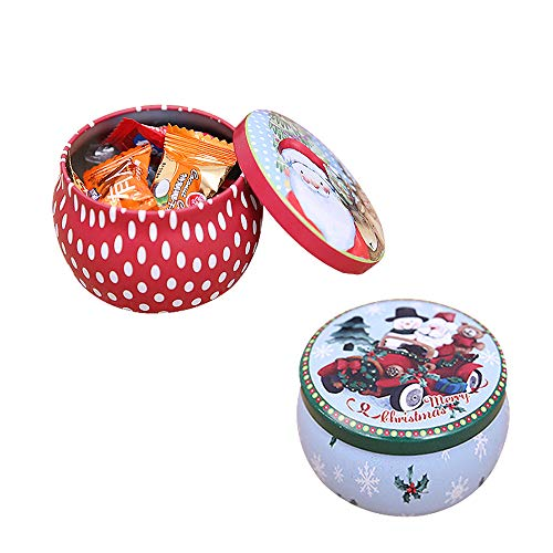 (FineInno 2 Packs Christmas Tinplate Tins Jar Round Candy Box Sweetie Case Storage Can Cups for DIY Candle Tea,Coffee,Jewelry,Party Favors,and Gifts (2 pcs candy box) )