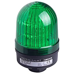 Menics 66mm beacon signal LED light, Direct mount, Steady/Flash, Green color, 12-24V AC/DC