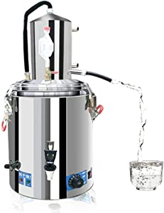 23L/lGal Distillers Kit 304 Stainless Steel Moonshine Still Wine Making Boiler Home Kit Electric heating temperature controldouble aver,for Whiskey Brandy Essential Oils (23L/6Gal)