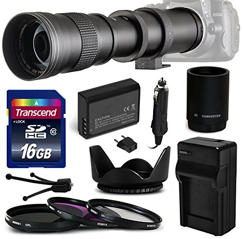 8.3 HD Telephoto Zoom Lens Bundle Package includes 2X Teleconverter + 16GB Memory Card + Replacement AC/DC Battery Charger with Car Plug & Euro Adapter + High Capacity Li-ion Battery Pack + 3 Piece Professional Filter Kit (UV-CPL-FL) + Tulip Flower Hood + Lens Cleaning Kit for Nikon D40, D40x, D60, D5000 DSLR SLR Digital Camera ()