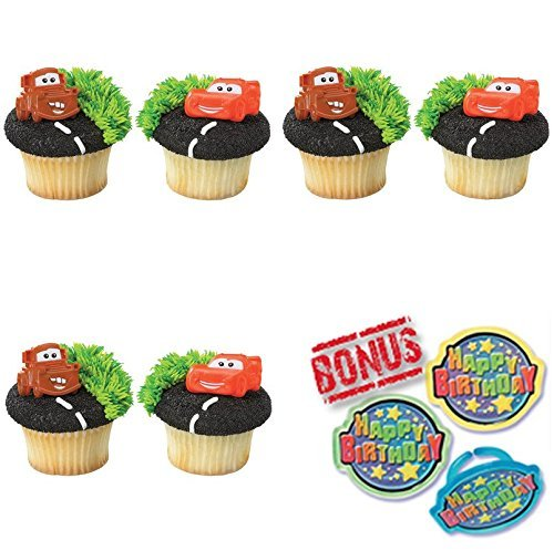 Cars Mater & Lightning McQueen Cupcake Toppers and Bonus Birthday Ring - 25 ()