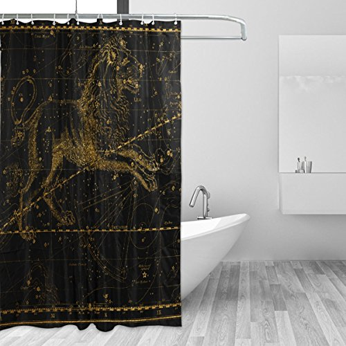 WIHVE World Map Constellation Shower Curtain Resistant Waterproof Bath Curtain Fabric for Bathroom Decorations in 72 x 72 Inches (with 12 Free Plastic Hooks)