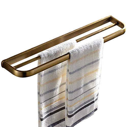 Leyden Retro Bathroom Accessories Solid Brass Antique Brass Finished Double Towel Bar Home Decor Towel rack Wall maounted (Holder Brass Toothbrush Series)