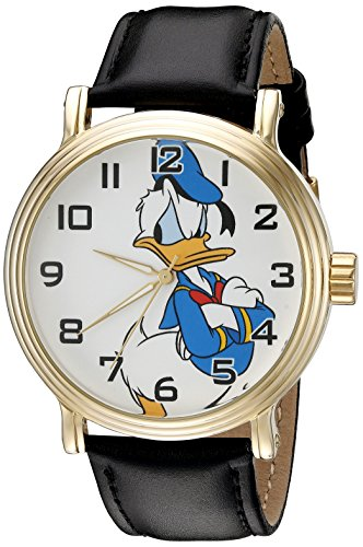 Disney Donald Duck Men's W002332 Donald Duck Watch with Black Band - Gold Tone Duck
