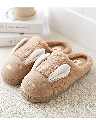 Maybest Mujeres Warm Plush Soft Sole Indoor Home Fuzzy Rabbit Slippers Café Para Hombres