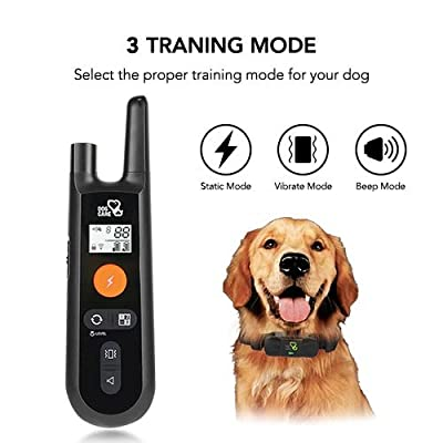 Dog Training Collar - Rechargeable Dog Shock Collar w/ 3 Training Modes, Beep, Vibration and Shock, 100% Waterproof Training Collar, Up to 1000Ft Remote Range, 0~99 Shock Levels Dog Training Set