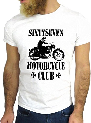 T SHIRT JODE Z3163 SIXTY SEVEN MOTOR CLUB BIKER COOL USA MERICA ROAD 66 FUN GGG24 BIANCA - WHITE XL