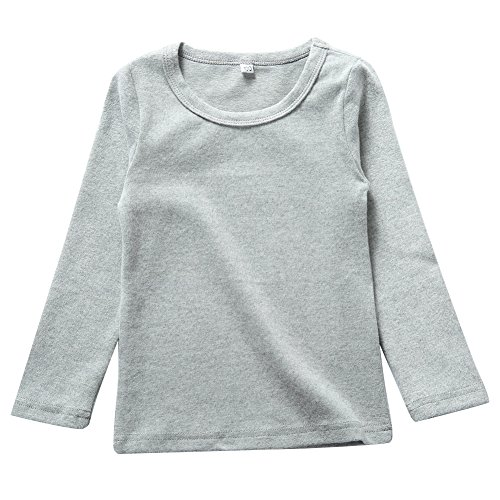 er Girls Long Sleeve Cotton Tees Kids T-Shirt Light Grey 3T ()