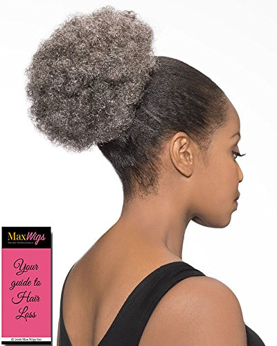 DS007 Ponytail Color 280 - Foxy Silver Wigs Drawstring Poof Hairpiece Clip On Short Afro Synthetic African American Womens Bundle w/MaxWigs Hairloss ()