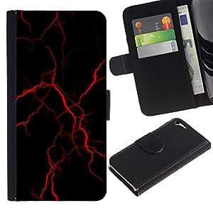 WonderWall Fondo De Pantalla Imagen Diseño Cuero Voltear Ranura Tarjeta Funda Carcasa Cover Skin Case Tapa Para Apple Iphone 5 / 5S - rayo rojo