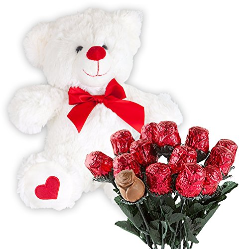 Valentines Day Gift Basket | Teddy Bear Plush 12 Inches & A dozen Belgian Milk Chocolate Roses | For Her Wife Girlfriend Mother Daughter