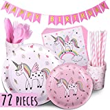 Trendy Brandy Unicorn Party Supplies PINK 72 Piece Pack Children's Rainbow Birthday Party Supply Set With Bonus Happy Birthday Banner By Serves 12