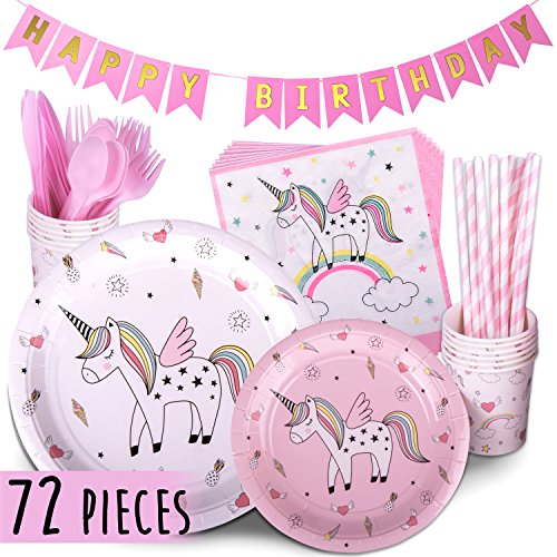Trendy Brandy Unicorn Party Supplies PINK 72 Piece