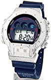 Mens King Master Diamond Case & Blue Band Digital Diamond Watch #KM-688