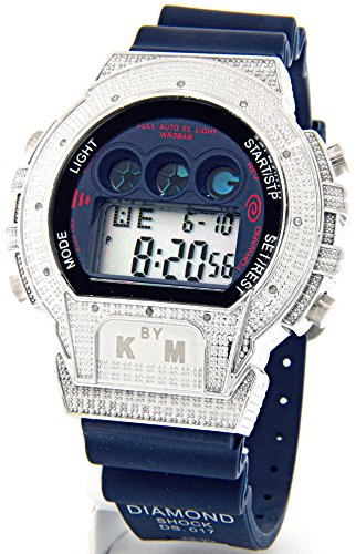 Master King Watch Diamond (Mens King Master Diamond Case & Blue Band Digital Diamond Watch #KM-688)