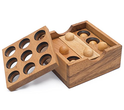 SiamMandalay Gopher Holes: Handmade & Organic 3D Brain Teaser Wooden Puzzle for Adults from with SM Gift Box(Pictured)