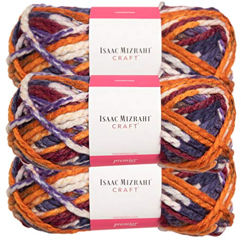 - Premier Yarns (3 Pack Isaac Mizrahi Lexington Acrylic & Wool Soft Irving Orange Blue Purple White Yarn for Knitting Crocheting #6 Super Bulky