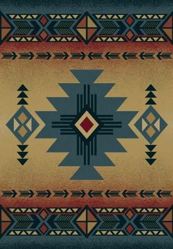 United Weavers of America Genesis Collection Arizona Heavyweight Heat Set Olefin Rug, 5-Feet3-Inch by 7-Feet 6-Inch, Blue