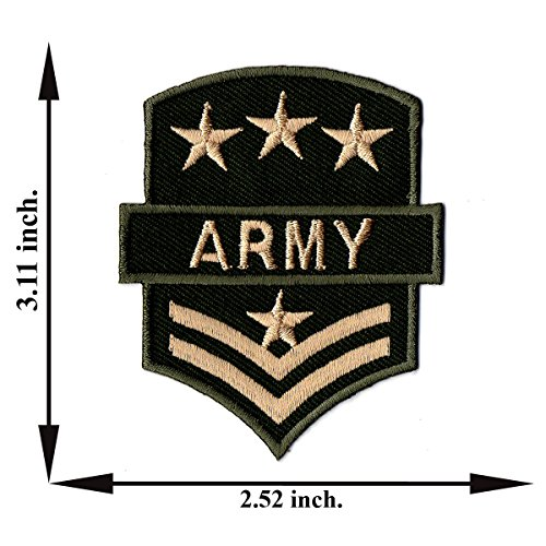 """""""Army Sergeant Stripes Patch"""" Iron on Patch 3.11""""x2.52"""" Appliques Hat Cap Polo Backpack Clothing Jacket Shirt DIY Embroidered Iron on / Sew on Patch"""