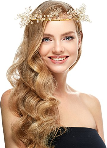 Crystal Floral Headband With Gold Flower Headband for Wedding Festivals, Prom or Party (Dead Prom Queen Costume Kids)