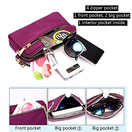Multi Wristlet Phone Purple Women Purse Nylon Clutch Pockets Bag Wallet Crossbody Small IITS4xZ
