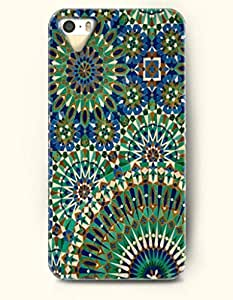 OOFIT Apple iPhone 5 5S Case Moroccan Pattern ( Green and Blue Moroccan Tile Pattern )