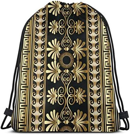 ギリシャストライプフローラルドローストリングバックパックショルダーバッグ軽量女性用36 x 43cm