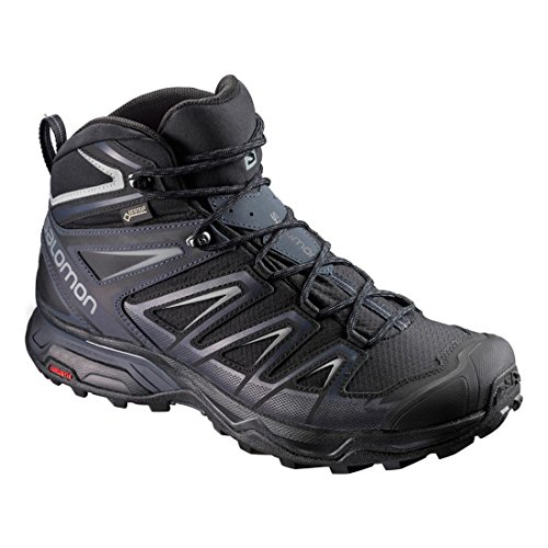 Scarpa Da Corsa Salomon Mens X Ultra 3 Wide Mid Gtx Nero / India Inchiostro / Monumento