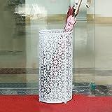 Umbrella Stands Round Iron Umbrella Storage Barrel With Drip Tray/3 Hooks Freestanding Doorway Long/Short Hotel Lobby Office Stores Walking Sticks Holder (Color : White)