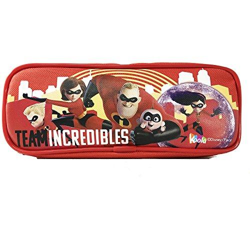 Disney Pixar Team Incredibles 2 Pencil Case Pouch Zippered Bag School Supplies RED