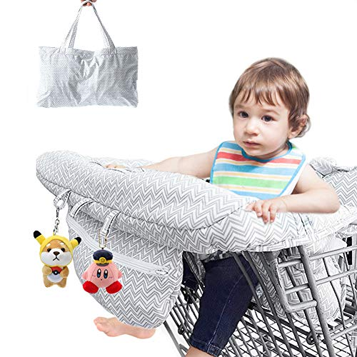 Shopping?Cart?Covers?for?Baby?Boy Girl Jhua 2?in?1 High?Chair?Cover?and?Baby Shopping?Cart?Cover Universal Size Portable Cotton Baby?Seat?CoverBag for Kids and Toddlers (Gray) / Shopping?Cart?Covers?for?Baby?Boy Girl Jhua 2?in?1 Hi...