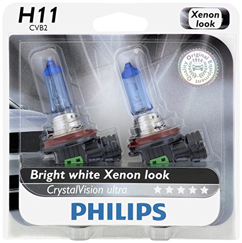 Philips H11 CrystalVision Ultra Upgrade Headlight Bulb, 2 Pack