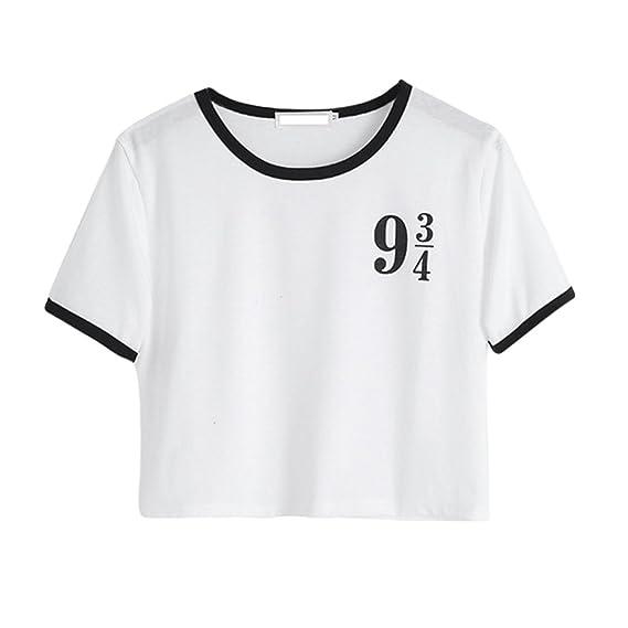 ZKOO Mujeres Camisetas Digital impresión Manga Corta T Shirt Blusas Cultivo Camisetas Tops De Verano: Amazon.es: Ropa y accesorios