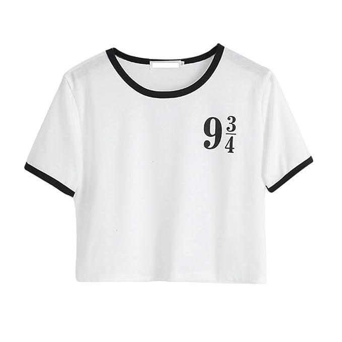 ZKOO Crop T-Shirt Tops Damen Kurzarm Digital Drucken Blusen T-Shirts  Oberteil Tops Sommer Freizeit Weiß  Amazon.de  Bekleidung 336a7d6a20