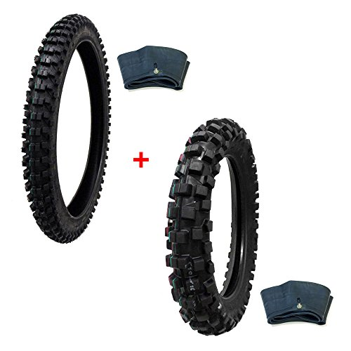 MMG TIRE Set: Off Road Knobby Front Tire Size 80/100-21 with Inner Tube + Rear Tire Size 110/100-18 with Inner ()