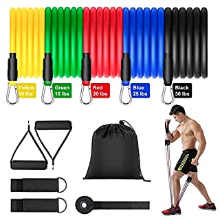 FIVKLEMNZ Resistance Bands Set, Exercise Bands with Door Anchor, Handles, Carry Bag, Legs Ankle Straps for Resistance Training, Physical Therapy, Home Workouts,Yoga, Pilates Stackable up to 100 lbs.