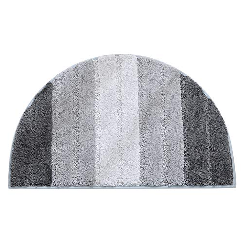 (MOOUS Half Moon Door Mat Shaggy Pile Rug Semi Circle Half Moon Door Mat Non-Slip Floor Mat Gradient Pattern Soft Touch Carpet for Home Bathroom Bedroom(Gray))