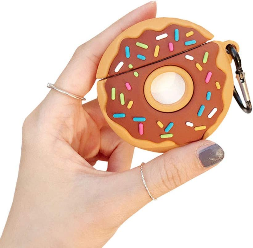 ICI-Rencontrer Super Creative Sweet Doughnut Design Airpods Case Fresh Tempting Food AirPods Accessories Wireless Earphone Soft Silicone Shockproof Protector For Airpods Pro With Hook