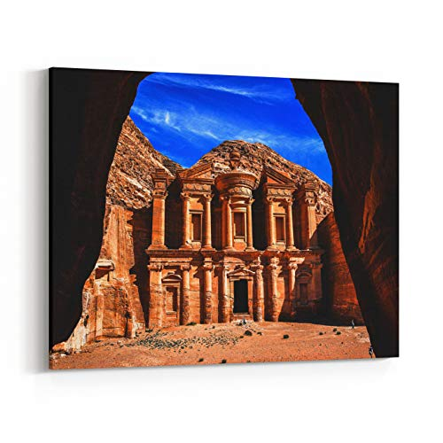 Rosenberry Rooms Canvas Wall Art Prints - Stunning View of The Ad Deir Monastery in The Ancient City of Petra, Jordan Incredible UNESCO World Heritage Site (40 x 30 ()