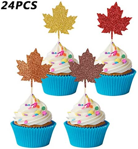 24Pcs Glittery Fall Leaves Cupcake Toppers for Thanksgiving Holiday Party Decorations,Thanksgiving Pie Topper Decor,Fall Party Decorations