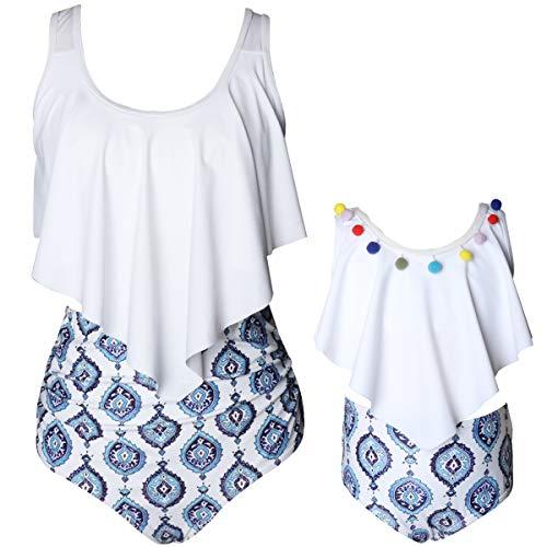 - myzeroing Mommy and Me Long Ruffle Bathing Suit,Leaves,Flower Pattern,Bikini Set,Tankini Ruffle Swimsuit for Childrens,Maternity,Plus Size (4-5T, R1-White-Girls)