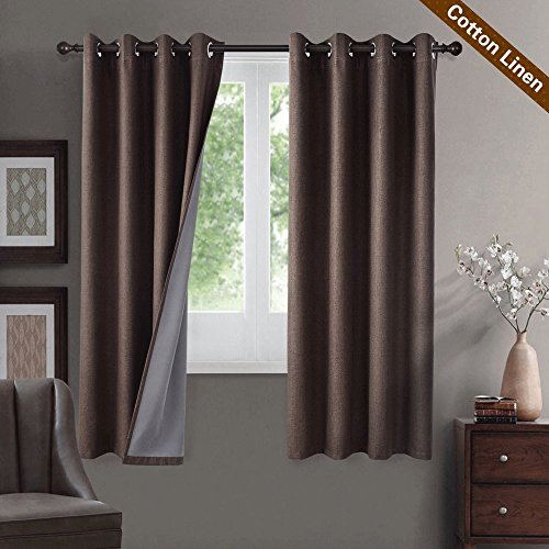 Pair Thermal Insulated Cotton Curtains - GIAERD 100% Blackout Cotton Linen Window Curtains Panels for Living Room Bedroom, Grommet Top Thermal Insulated Room Darkening Drapes,Wide 52 by Legnth 63 -Inches,1 Pair,Brown
