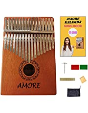 AMORE Kalimba Thumb Piano, 17 Keys Finger Kalimba, 70 Song Book Tabs and User Manual, Musical Instruments, Portable Mbra, Small Instruments for Kids, Beginners, Prof, All in One Kit