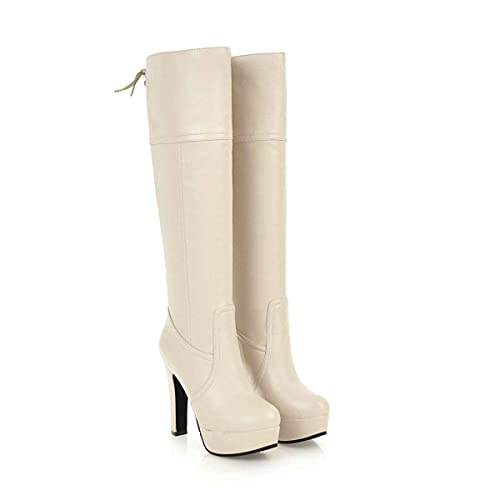 197d8a28b Botas largas de tacón Alto con Plataforma de tacón Cuadrado para Mujer   Amazon.es  Zapatos y complementos