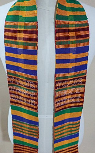 (Personalized Kente Graduation Stole, Authentic African Kente Cloth, Custom Embroidery)